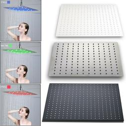Bathroom LED Rainfall Shower Head Combo Square Top Sprayer F