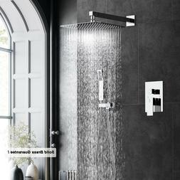 "Bathroom Shower Faucet Set 8"" Rain Shower Head + Hand Spray"