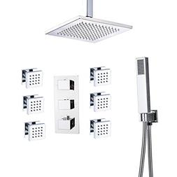 Rozin Bathroom Thermostatic 8-inch Ceiling Mounted Rainfall