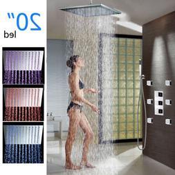 "20"" LED Thermostatic Rain Shower Head 6 Massage Jets Hand Sh"
