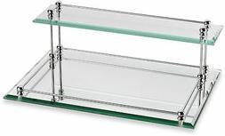 Bathroom Tray Storage Shelf Glass 2 Tier Valet Shelves Bath