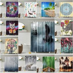 Bathroom Waterproof Fabric Shower Curtain Nature Scenery Pan