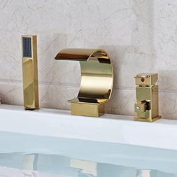 Rozin Bathroom Widespread Waterfall Bathtub Faucet Single Le