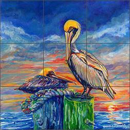 Bird Art Tile Mural Backsplash Pelicans at Sunset by Gloria