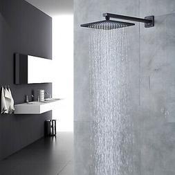 Black 16 Inch Shower Head Square Rain Shower Faucet Without
