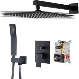 Black Shower Faucet Set Rainfall Shower Head Combo w/ Mixer