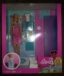 Brand New Mattel Barbie FXG51 Bathroom With Working Shower F