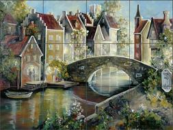 Brugge Canal Tile Backsplash Tisha Whitney Art Ceramic Mural