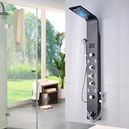 Brushed Black LED Shower Faucet Panel Shower Column Body Jet
