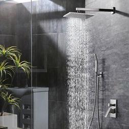 Brushed Nickel 8 Inch Bathroom Rain Mixer Shower Combo Set S