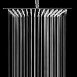 Brushed Nickel Bathroom 10-in Square Rainfall Shower Head wi