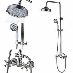 Brushed Nickel Bathtub Shower Faucet System 8-inch Rainfall