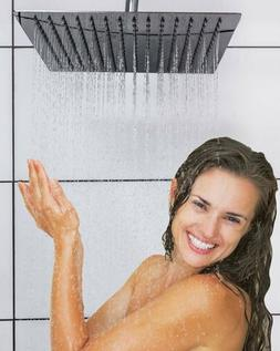 Brushed Nickel Rain Shower Head 16 Inch Square Ultra-Thin Lu