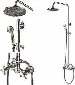 Bathtub Shower Faucet Set Wall Mount Shower Rod Kits Antique