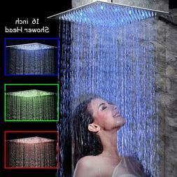 16-inch Shower Head Brushed Nickel LED Rain Shower Faucet Ro