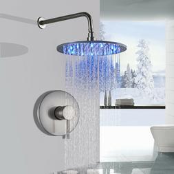 Brushed Nickel Shower System Combo Set 16 inch LED Round Rai