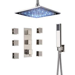 Rozin Brushed Nickel 3-way Thermostatic Shower Set Ceiling M