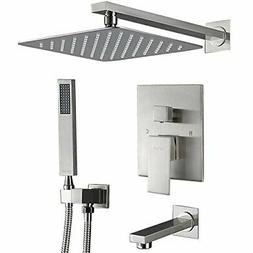 """Brushed Nickel Ultra-thin 10"""" Rainfall Shower Combo Set Syst"""
