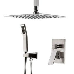 """STARBATH Ceiling Mount Shower System Brushed Nickel with 12"""""""