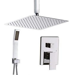 "STARBATH Ceiling Mount Shower System Chrome with 12"" Rain Sh"