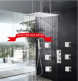 Ceiling Mounted Brushed Nickel Shower Faucet Combo Set 20 In