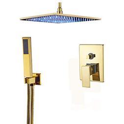 "Rozin Ceiling Mounted 2-way Mixer LED Light 12"" Rainfall Sho"