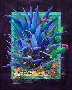 Ceramic Tile Mural Backsplash - Purple Agave By Susan Libby