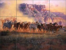 Artwork On Tile Ceramic Tile Mural Backsplash Western Horse