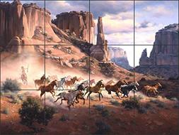 Artwork On Tile Ceramic Tile Mural Backsplash Western Art Sa