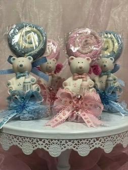 Ceramic Teddy Bear Party Favor- Baby Shower Gender Reveal-3p