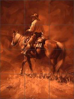 Ceramic Tile Mural Backsplash Shower Sorenson Western Cowboy