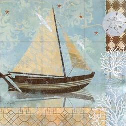 Ceramic Tile Mural Kitchen Shower Evelia Sailboat Boat Art O