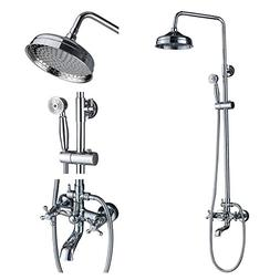 Rozin Chrome Bathroom 8 Round Rainfall Shower Faucet Set Tub