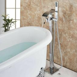Chrome Bathtub Faucet Tub Filler with Hand Shower Waterfall
