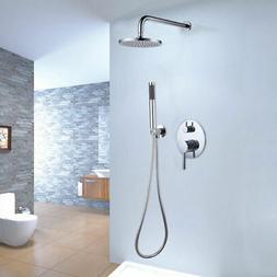 Chrome Brass Bath Rain Shower & Handshower System Wall Mount