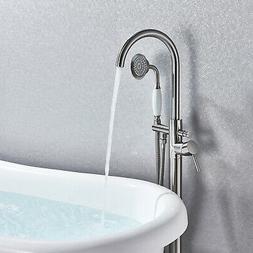 Brushed Nickel Floor Mounted Bathtub Faucet Free Standing Tu