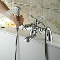 Chrome Filler & Hand Shower Head Kit Bath Tub Faucet with Ha