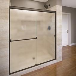 Classic Frameless Bypass Sliding Shower Door, Oil Rubbed Bro