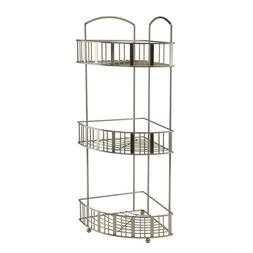 Corner Shower Caddies 3 Tier Tower Flat Stripe Wire Iron Con