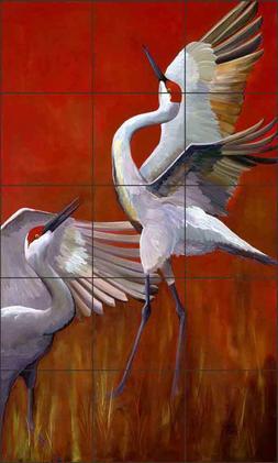 Crane Tile Backsplash Susan Libby Wildlife Art Ceramic Mural