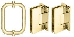 CRL Brass Vienna Shower Pull and Hinge Set