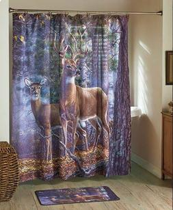 Deer Lodge Bath Decor Shower Curtain Hooks Rug Rustic Cabin