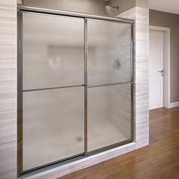 Deluxe Framed Bypass Sliding Shower Door, Silver, Obscure
