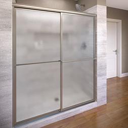Basco Deluxe Shower Door Framed Obscure Glass Sliding Door,