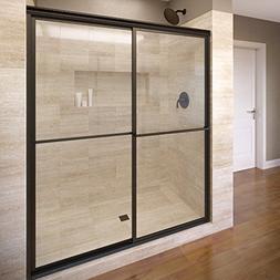 Basco Deluxe Framed Sliding Shower Door, Fits 56-59 inch ope