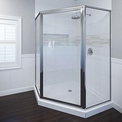Basco Deluxe Neo Angle Shower Door, Clear Glass, Silver Fini