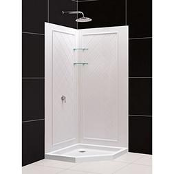 DreamLine Slimline x 36 in. Neo-Angle Base and QWALL-4 Showe
