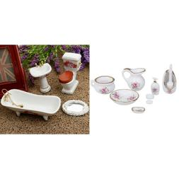 MagiDeal Dollhouse Furniture Floral Ceramic Shower Set for 1