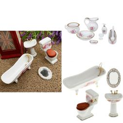 Dollhouse Furniture Floral Ceramic Shower Set for 1/12 Bathr