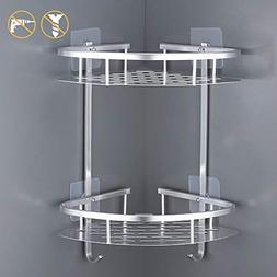 Kes No Drill Bathrom Corner Shelf 2-Tier Aluminum Shower Cad